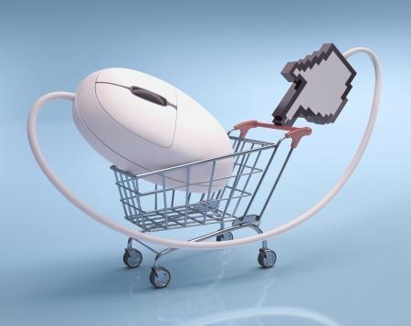 Ratón en la cesta de la compra Concepto de las compras por Internet Foto de archivo