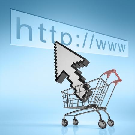 mouse cursor: Cursor moving to a web address  Concept of internet shopping  Stock Photo