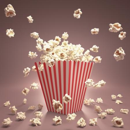 palomitas de maiz: Popcorn explosi�n en el interior del envase a rayas.