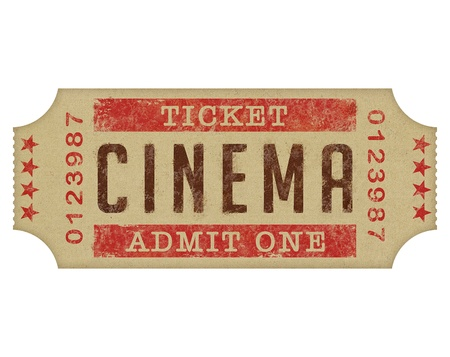 Ticket entrance to the cinema, high detailed over white.