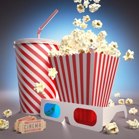 popcorn: Popcorn, soda, occhiali 3D e biglietti per il cinema, pronti per il film.