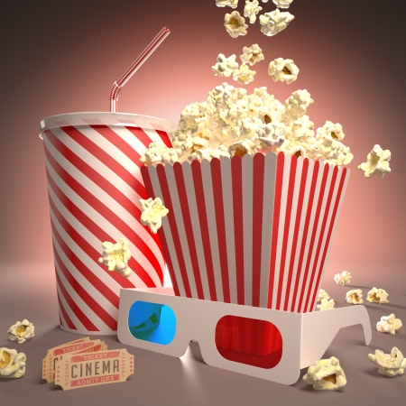 Popcorn, soda, 3D glasses and movie tickets, ready for the film.