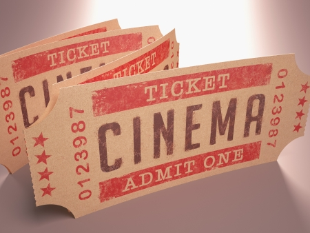 cinema ticket: Entry ticket to the cinema  Admit One