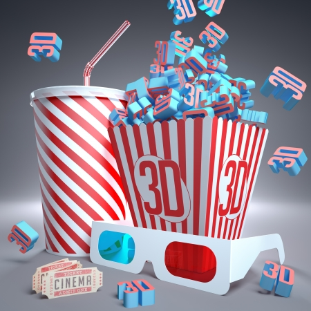 3D symbols falling in package, soda, 3D glasses and movie tickets, ready for the film. photo