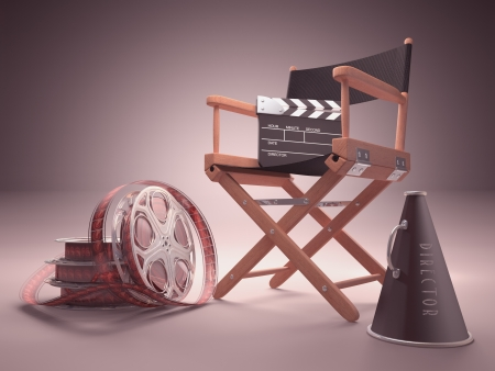 Objects of the film industry, the concept of cinema. photo
