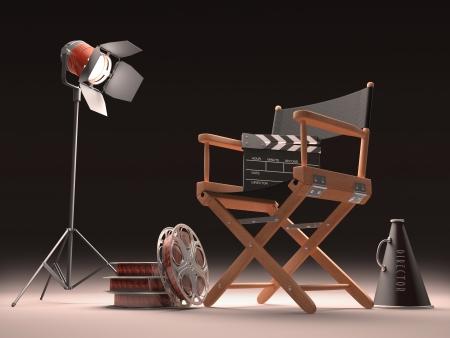 filmregisseur: Objecten van de filmindustrie, het concept van de cinema. Stockfoto
