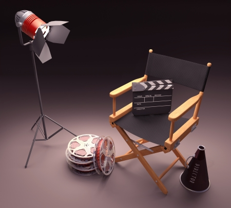director's chair: Objects of the film industry, the concept of cinema.