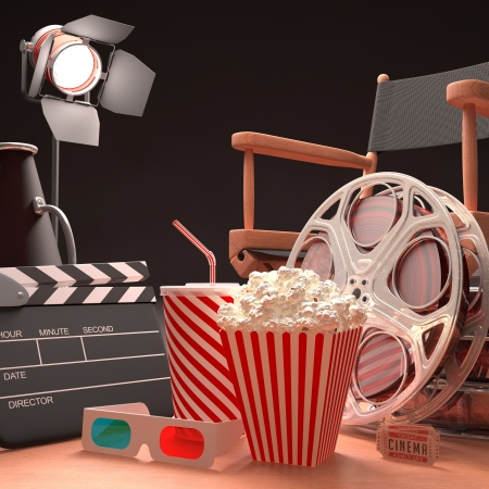 Objects of the film industry, the concept of cinema  photo