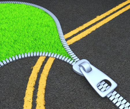 Concept of street paving, or of the destruction of nature Stock Photo - 16483019