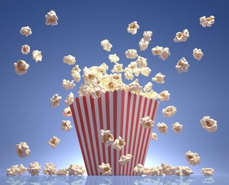 popcorn: Popcorn exploding inside the packaging striped.