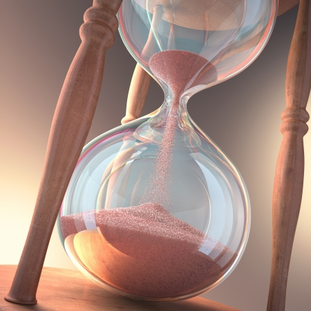hourglass: Hourglass counting the time  Concept of time is money