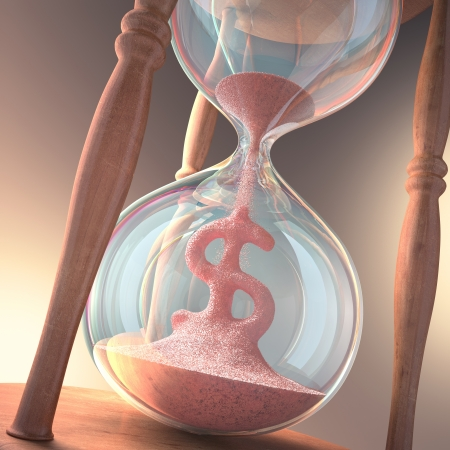 Hourglass forming sign of money  Concept of time is money  photo