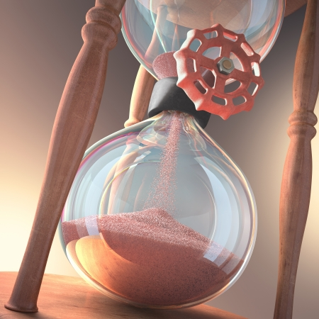 sands of time: Hourglass counting the time  Stop time closing the valve  Stock Photo