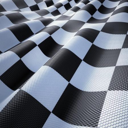 bandera carrera: Bandera a cuadros de carreras, el viento y con textura ondulada. Foto de archivo