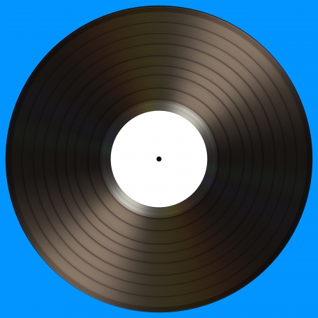 Vinyl record with blank label on a blue background. Stock Photo - 16797088