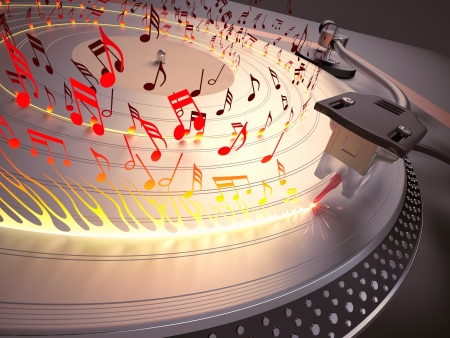 Scratching the metal disc to play hot music. Concept of heavy metal, tropical and sensual music. Stock Photo - 16913576