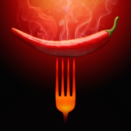 chili pepper: Very hot pepper stuck on the fork.