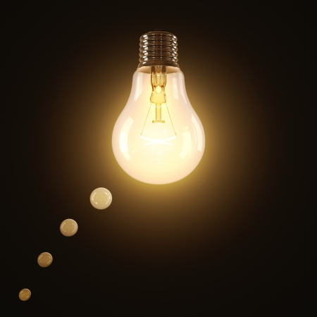 Incandescent lamp lit shaped in a think balloon.
