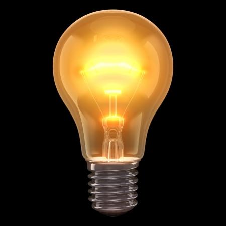 incandescent: Incandescent lamp burning on a black background.