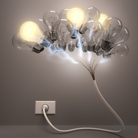 Grouped lamps shaped brain. Some lamps lighting, concept of active neurons.