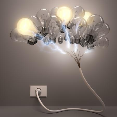 neurona: Luces agrupadas cerebro en forma. Algunas l�mparas de iluminaci�n, el concepto de neuronas activas.