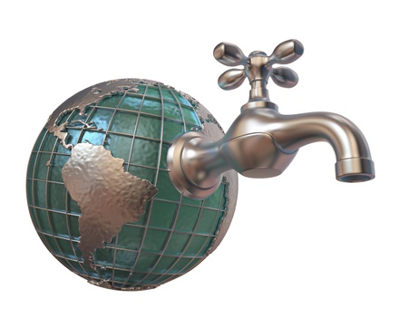waste water: A tap attached to a globe on white background. Stock Photo