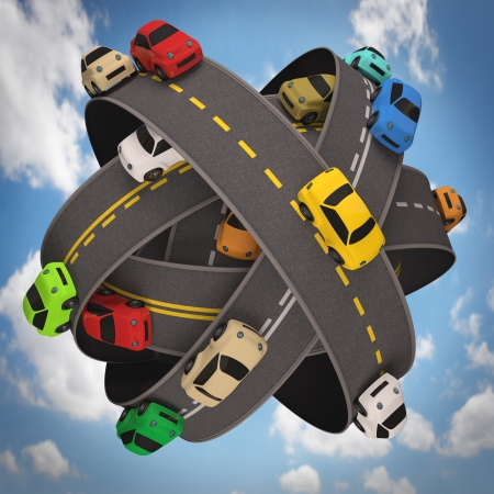 Ball of road asphalt with several cars. Concept of traffic in the world. photo