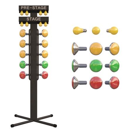 드래그 레이싱 대회에 사용 된 크리스마스 트리 시동 장치. , 흰색 통해 격리하기 쉬운.