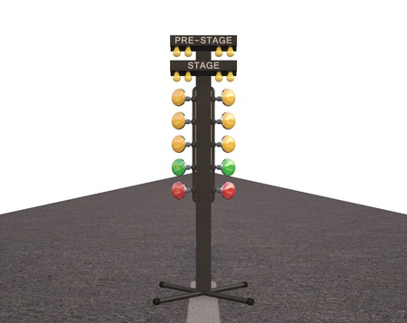car racing: Christmas tree starting system used in drag racing contest. Over white, easy to isolate. Stock Photo