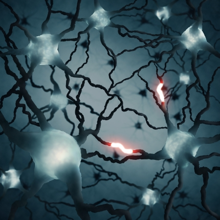 Inside the brain. Concept of neurons and nervous system. photo