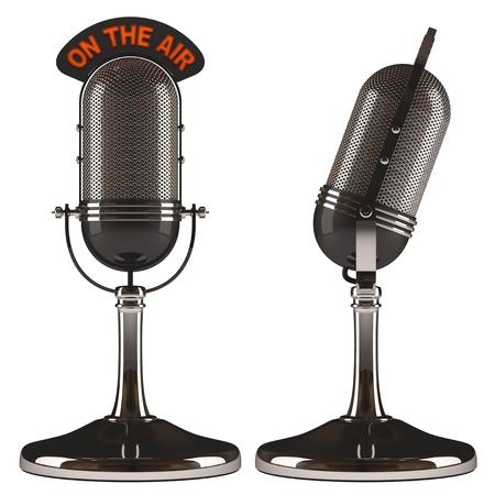 Vieux microphone classique sur fond blanc, facile à isoler. Banque d'images