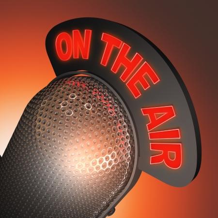 microfono de radio: Micrófono clásico en perspectiva cerrada.
