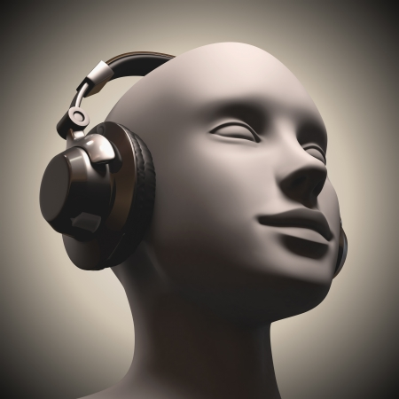 psy: Headset on a human head looking to the up.