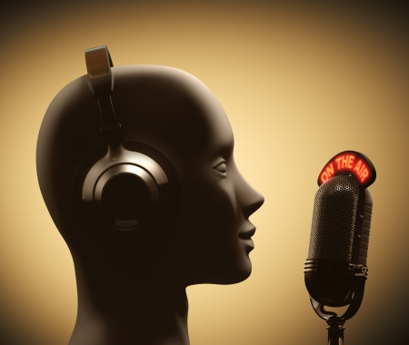 disc jockey: Microphone in front of the human head.