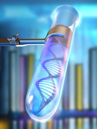 adn humano: Tubo de ensayo con el ADN en un líquido con un fondo que representa un laboratorio.