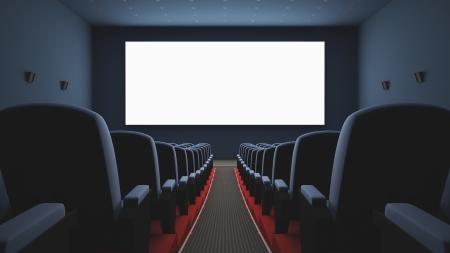 영화의 내부입니다. 화면의 영화를 기다리는 여러 빈 좌석. 흰색 화면의 텍스트 또는 그림. 스톡 콘텐츠
