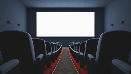 Inside of the cinema. Several empty seats waiting the movie on the screen. Your text or picture on the white screen. photo