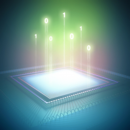 sensor: Binary code rising out from the central processing unit. Stock Photo