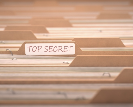 secret: Top secret files with the focus on the folder labeled.