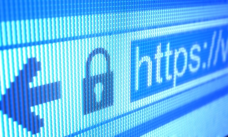 Adresse Internet protégé montrant sur l'écran LCD. Banque d'images