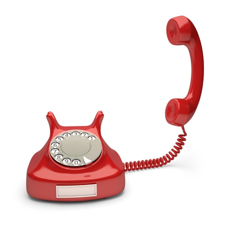 emergency call: Red phone with empty label. Your number on label.