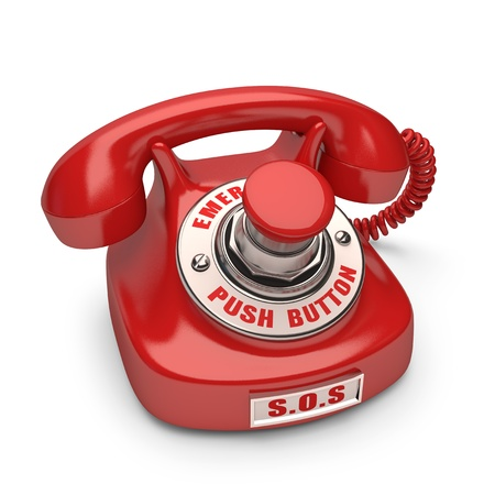 Red phone with emergency button. Push the button to call. photo