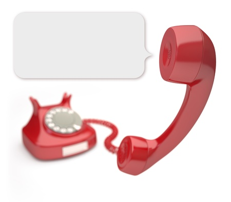 emergency call: Red phone with focus on the balloon from speaker. Stock Photo