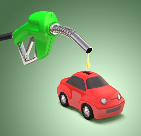 eco car: Concept of saving gasoline with a drop falling into the car bank.