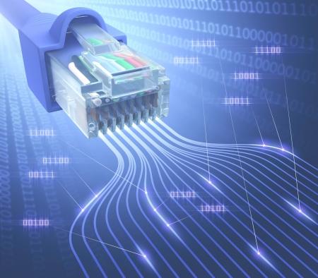 Câble connecteur modulaire RJ45 pour le réseau informatique et de télécommunications Banque d'images