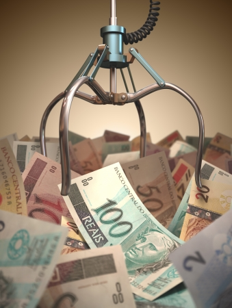 Pince robotisée essayer d'obtenir le plus d'argent réel brésilienne