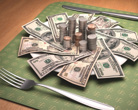 Dinner time with American money on the plate