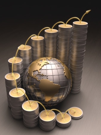 federal reserve: Globe surrounded by coins made of gold and silver forming a graph on the rise.
