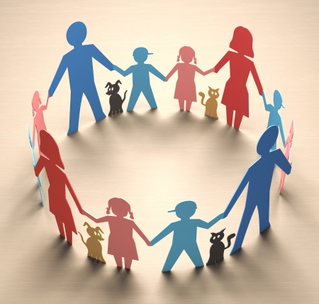Happy family forming a circle of unity