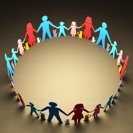 familias unidas: Feliz familia que forman un círculo de unidad
